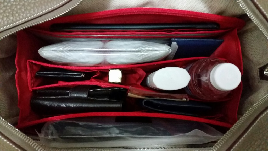 Hermes Victoria II 35 tote fitted with Purse Organizer Insert by Cloversac